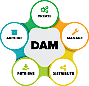Image showing the DAM Cycle: Create, Manage, Distribute, Retrieve, Archive.