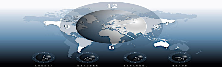 Image of a World Atlas with four time zone clocks.